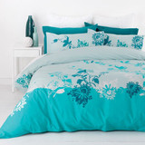 In2Linen Ava Aqua Quilt Cover Set - King Size 100% cotton 300 thread Count