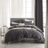Linen / Cotton Versai Charcoal Quilt Cover Set - Private Collections From