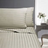 In2Linen SUPER King COMBO FITTED SET 50 CM WALL | Paris Stripe 500 thread count - Linen