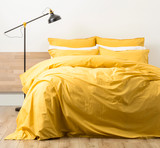 Renee Taylor Stone wash Quilt Cover Set | MUSTARD