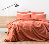 Renee Taylor Stone wash Quilt Cover Set | RUST/Clay