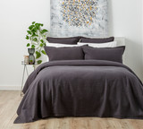 In2linen Waffle Blanket/Coverlette 100% Egyptian Cotton Soft wash |Charcoal