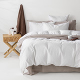 In2Linen Grange 100% Cotton Quilt Cover Set | WHITE