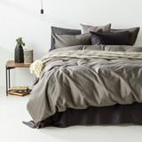 In2Linen Grange 100% Cotton Quilt Cover Set | Charcoal