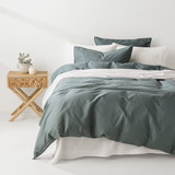 In2Linen Grange 100% Cotton Quilt Cover Set | Petrol