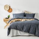 In2linen Herringbone print 100% Organic Cotton  Quilt Cover Set | Navy