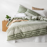 In2linen Oliver 100% Organic Cotton  Quilt Cover Set | Khaki/Green