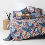In2linen Paisley 100% Cotton 300 thread Quilt Cover Set | Blue