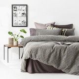 In2Linen Stone Washed Waffle Weave Pure Cotton Quilt Cover Set ICharcoal