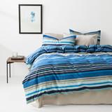 In2linen Alex 100% Cotton 300 thread Quilt Cover Set | Blue/Sand