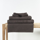 In2linen Classic Egyptian Cotton Ribbed Towel | Charcoal