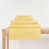 In2linen Classic Egyptian Cotton Ribbed Towel | Yellow Butter