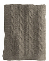 In2Linen Orlando 100% Cotton Cable Knit Throw | Brown