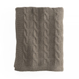 In2Linen Orlando 100% Cotton Cable Knit Throw | Brown/Mocha