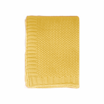 In 2 Linen Chelsea Knitted Throw Rug | Yellow