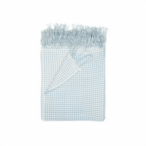 In 2 Linen Waffle Knitted Throw Rug | Natural & Duck Egg Blue