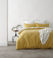 In 2 Linen Vintage Washed King Bed Quilt Cover Set | Yellow