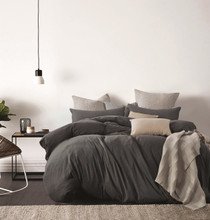Gioia Casa Jersey Cotton Black Marble Super King Bed Quilt Cover Set