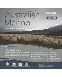 In 2 Linen Australian Merino Wool Double Bed Quilt 600GSM | Extra warm