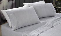 Park Avenue Egyptian Cotton Flannelette Single Bed Sheet Set - Stripes