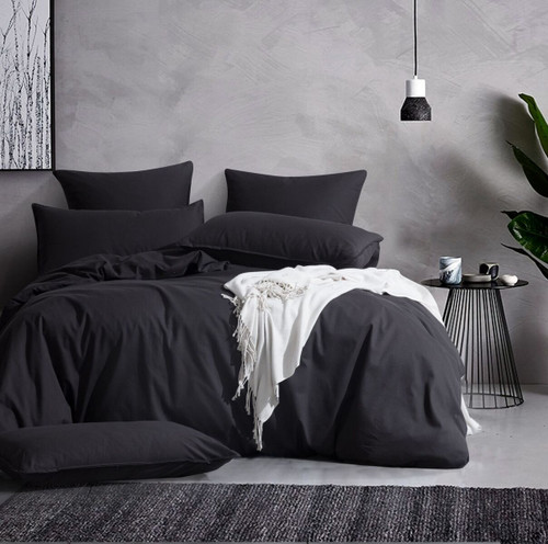 Gioia Casa Corduroy Cotton Super King Bed Quilt Cover Set - Charcoal