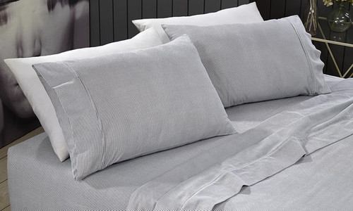 Park Avenue Egyptian Cotton Flannelette Queen Bed Sheet Set - Stripes