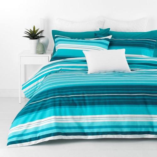 In 2 Linen  Alex Aqua Queen Bed Quilt Cover Set