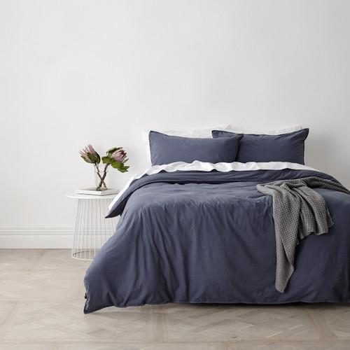 In 2 Linen Vintage Washed Single Bed Quilt Cover Set | Blue