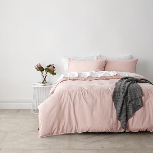 In 2 Linen Vintage Washed Single Bed Quilt Cover Set   Pink