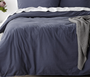 In 2 Linen Vintage Washed Double Bed Quilt Cover Set | Blue