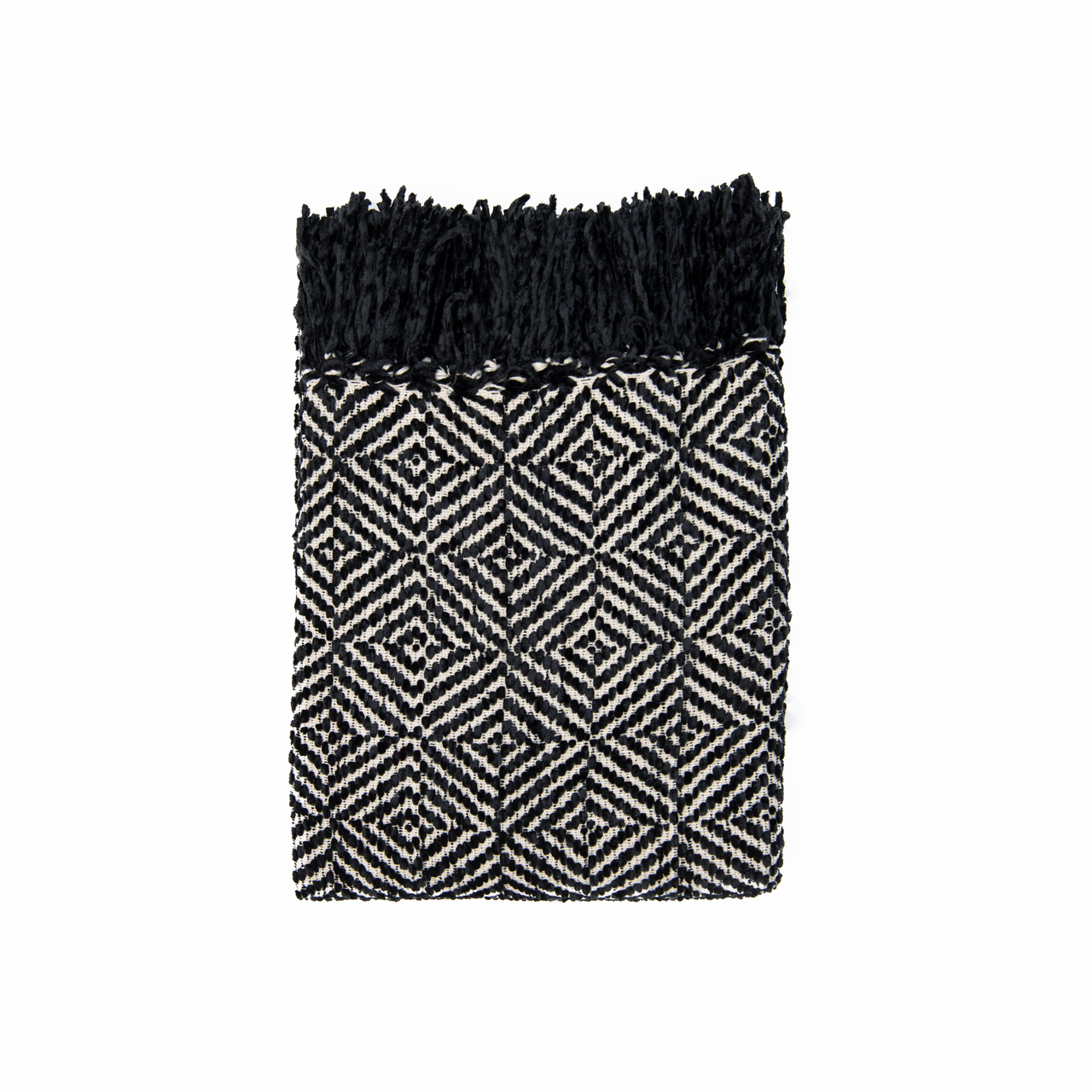 In 2 Linen Stanford Chenille Throw Rug Black