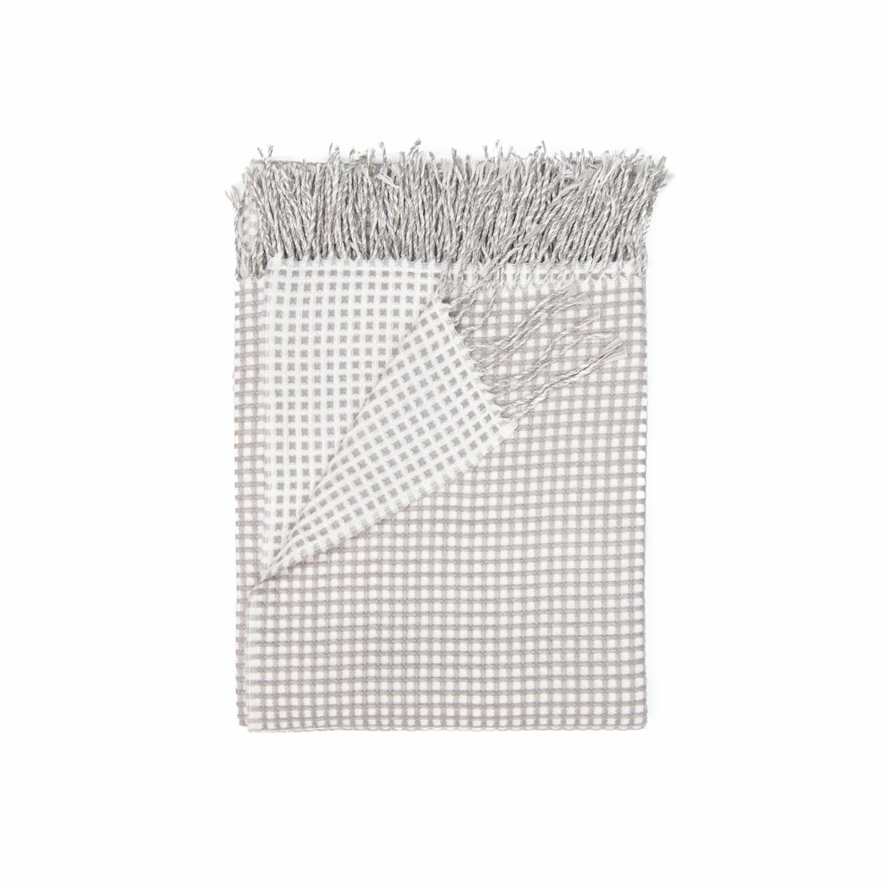 In 2 Linen Waffle Knitted Throw Rug   Natural & Linen