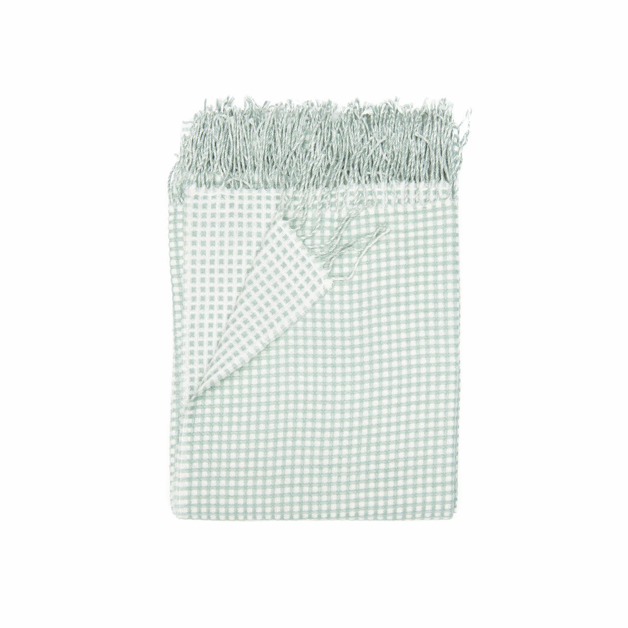 In 2 Linen Waffle Knitted Throw Rug   Natural & Mint