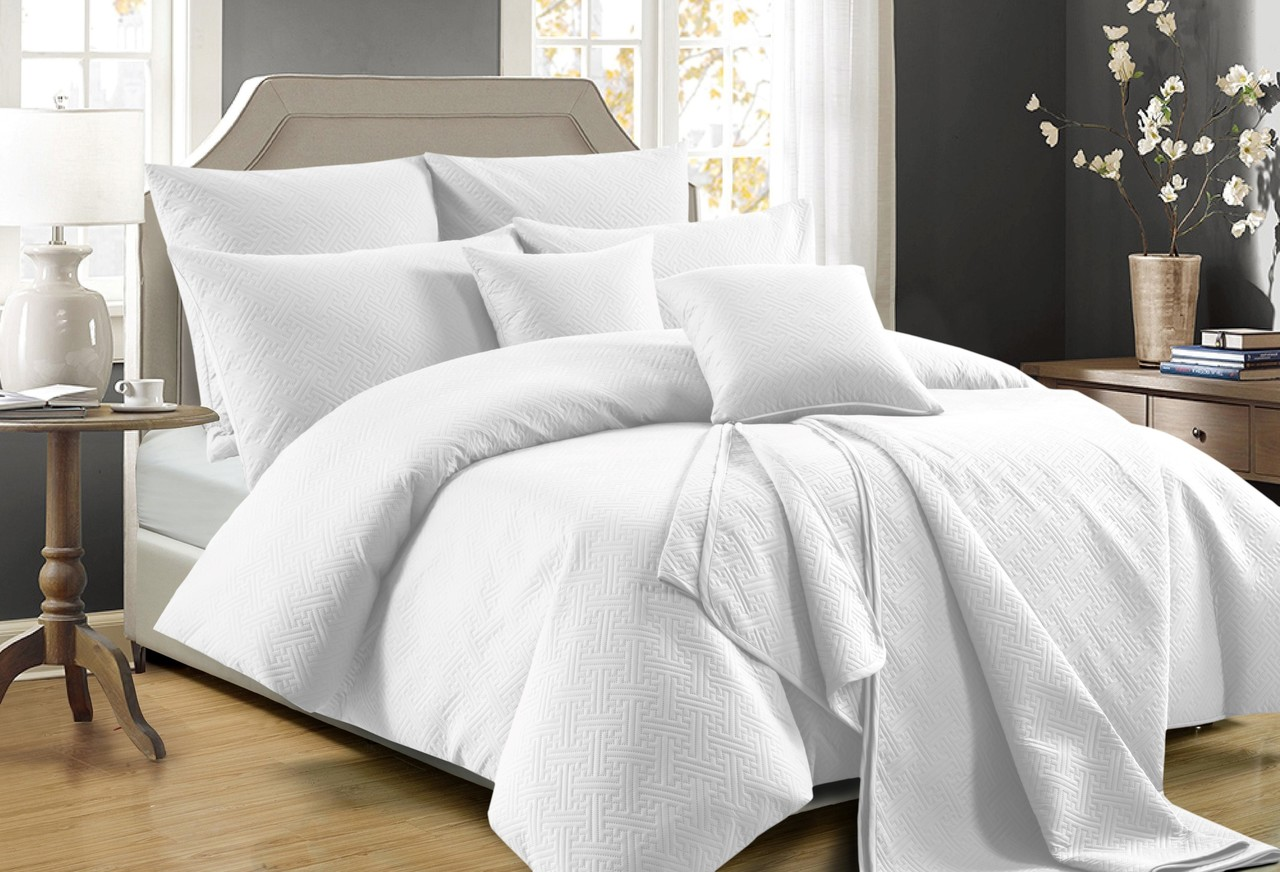 Perle Zeus Quilted King Bed Quilt Cover Set White In 2 Linen