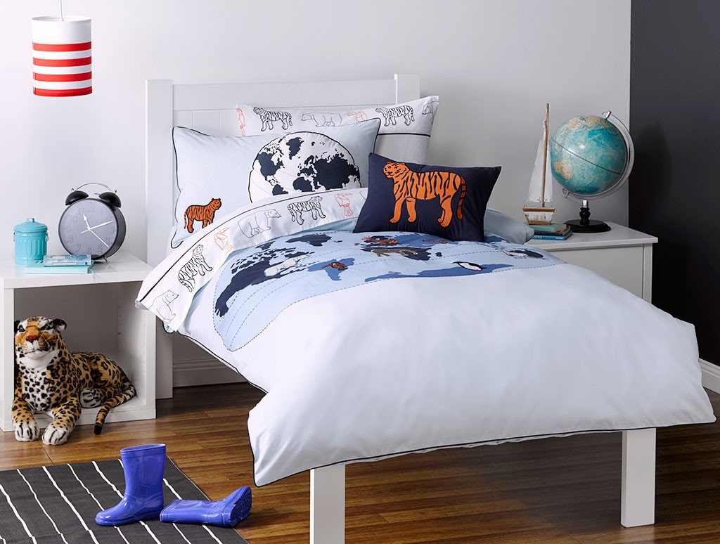 Whimsy Kids Animal Atlas Single Bed Quilt Cover Set