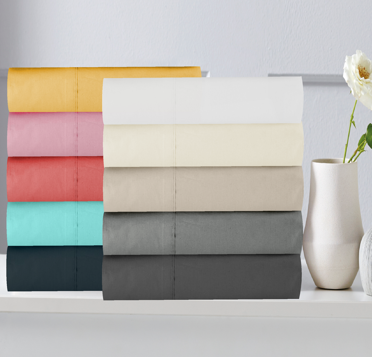 In2Linen / Harper Home King Single Bed Fitted Sheet 300TC Cotton Percale  | Assorted colours