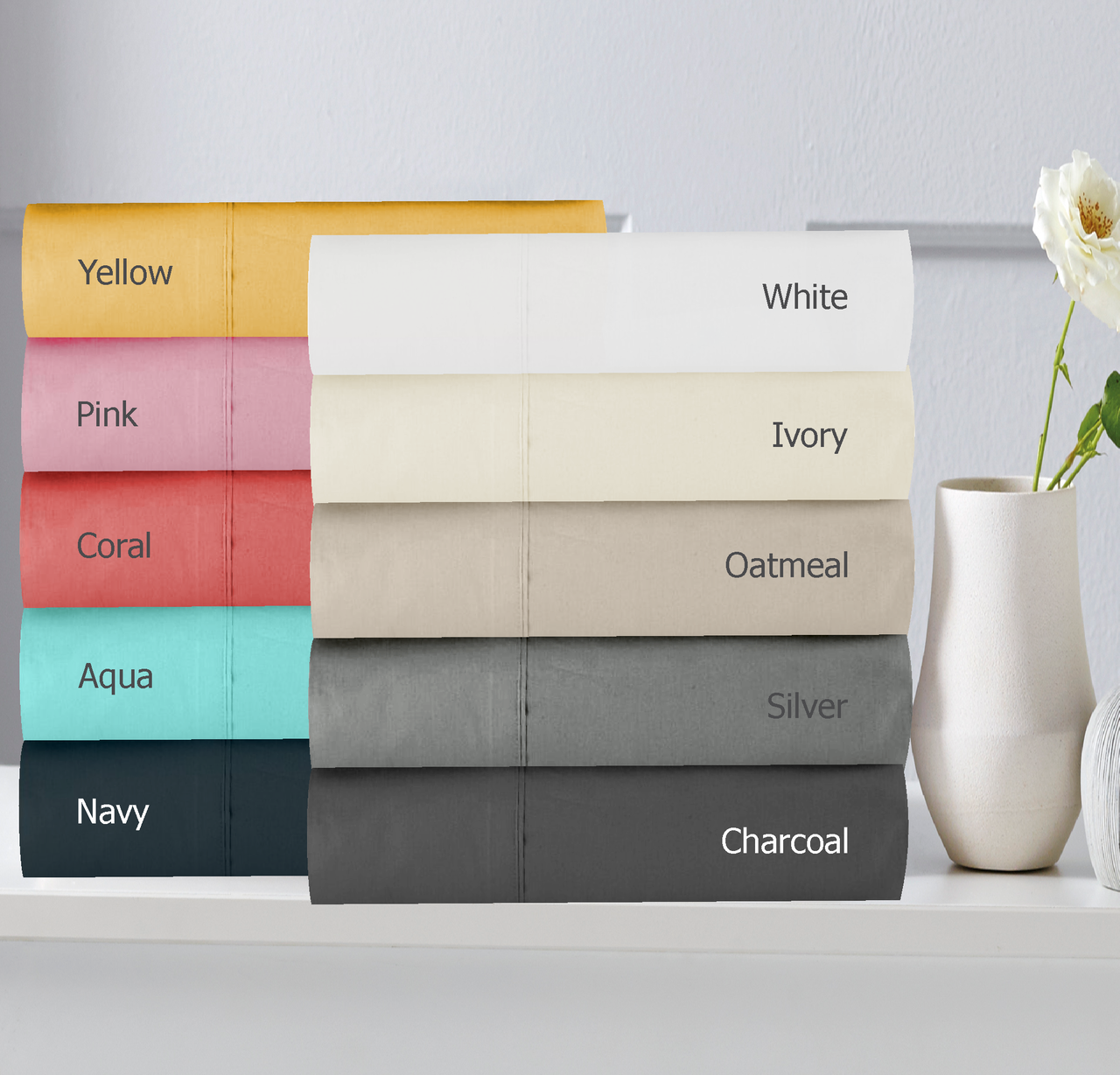 In 2 Linen Double Bed Fitted Sheet 300TC Cotton Percale | Assorted colours
