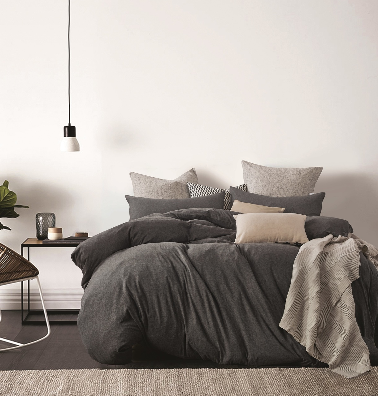 Gioia Casa Jersey Cotton Black Marble King Bed Quilt Cover Set In 2 Linen