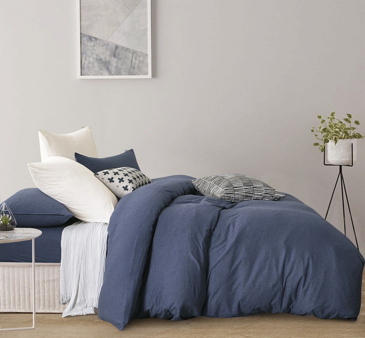 Gioia Casa Jersey Cotton Blue Marble Super King Bed Quilt Cover Set In 2 Linen