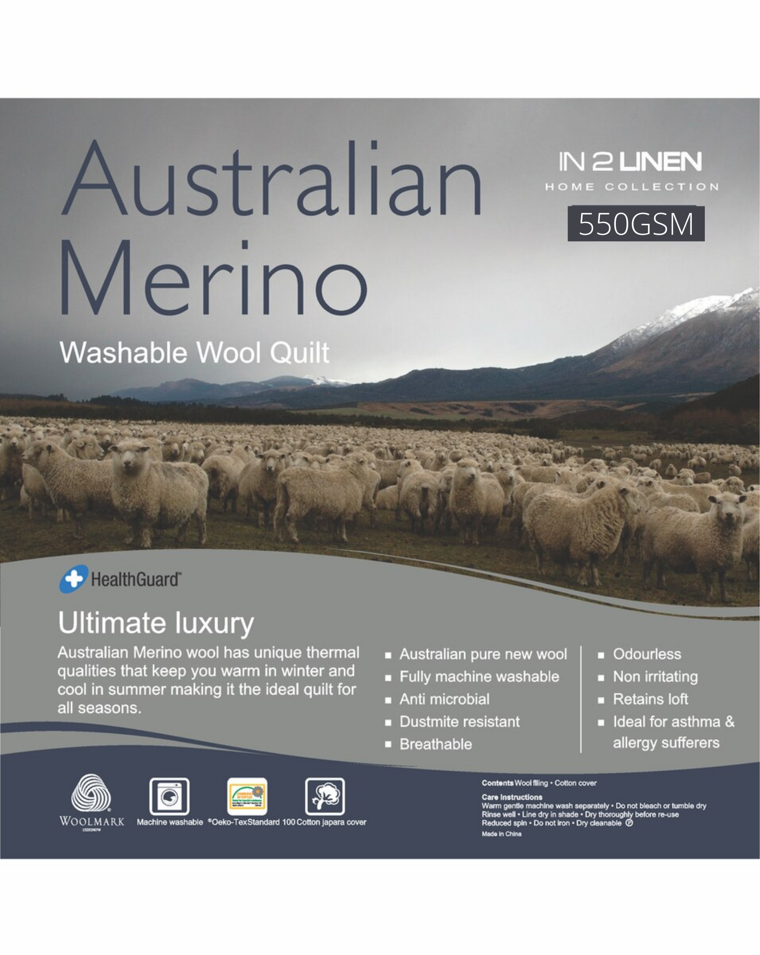 In 2 Linen Australian Merino Wool King Bed Quilt 550GSM | Extra warm