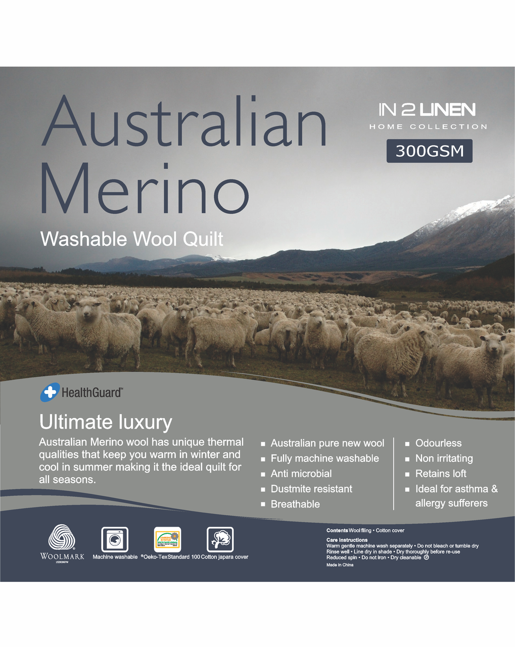 In 2 Linen Australian Merino Wool Single Bed Quilt 300GSM | All seasons