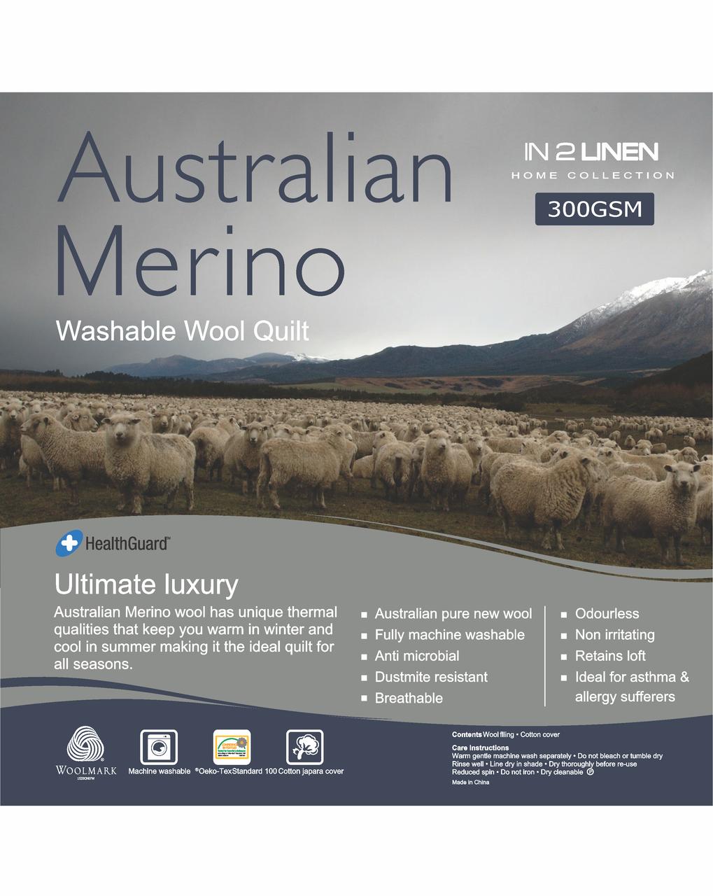 In 2 Linen Australian Merino Wool King Bed Quilt 300GSM | All seasons