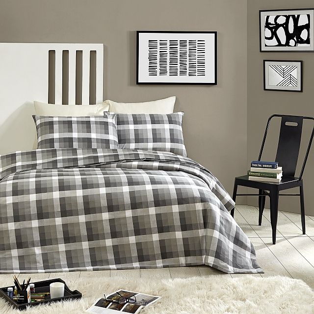 Flannel Quilt Cover Set 100% Egyptian Cotton - Oxford Check Park Avenue |All Sizes