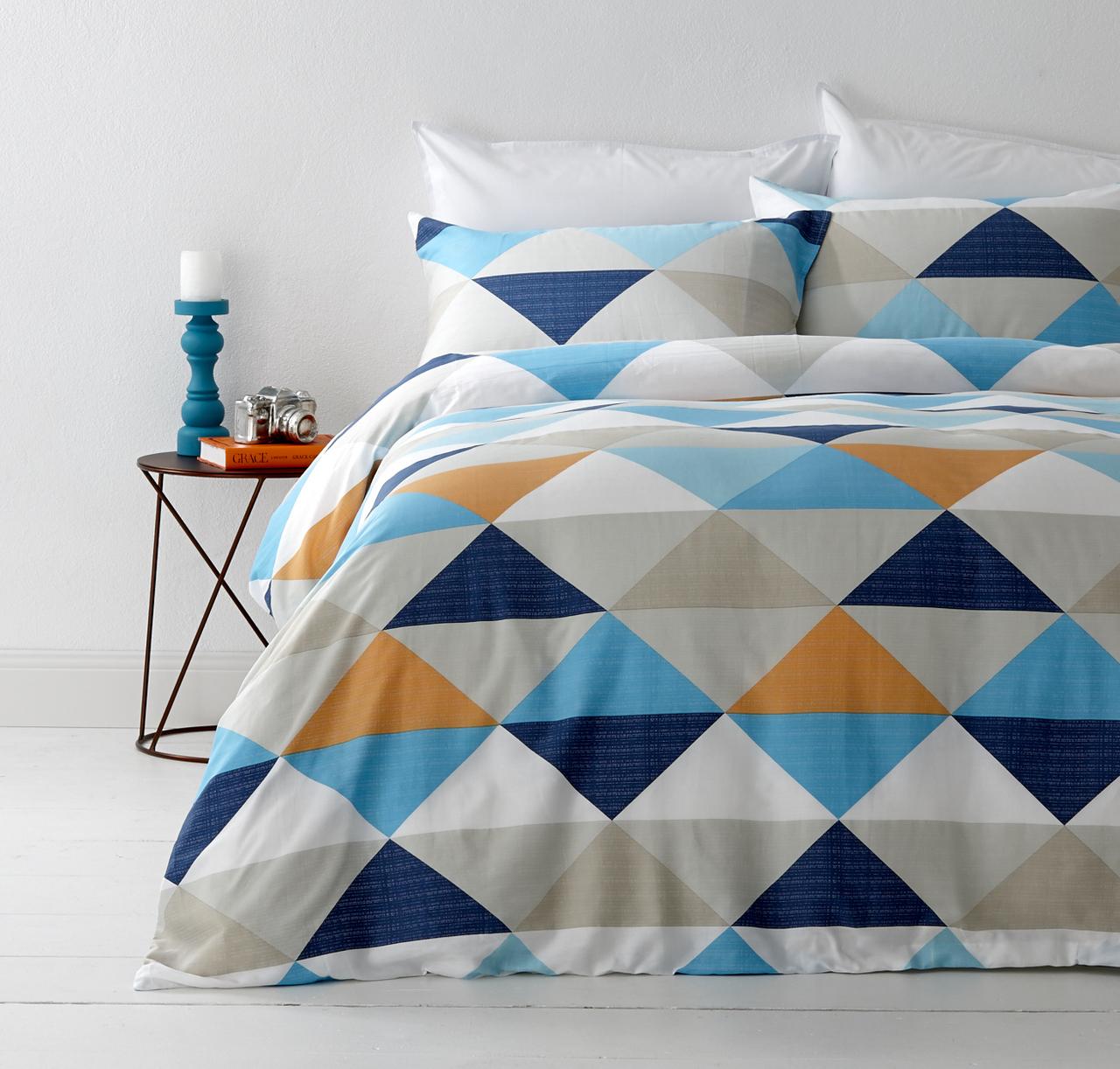 In 2 Linen Tanika Orange Queen Bed Quilt Cover Set