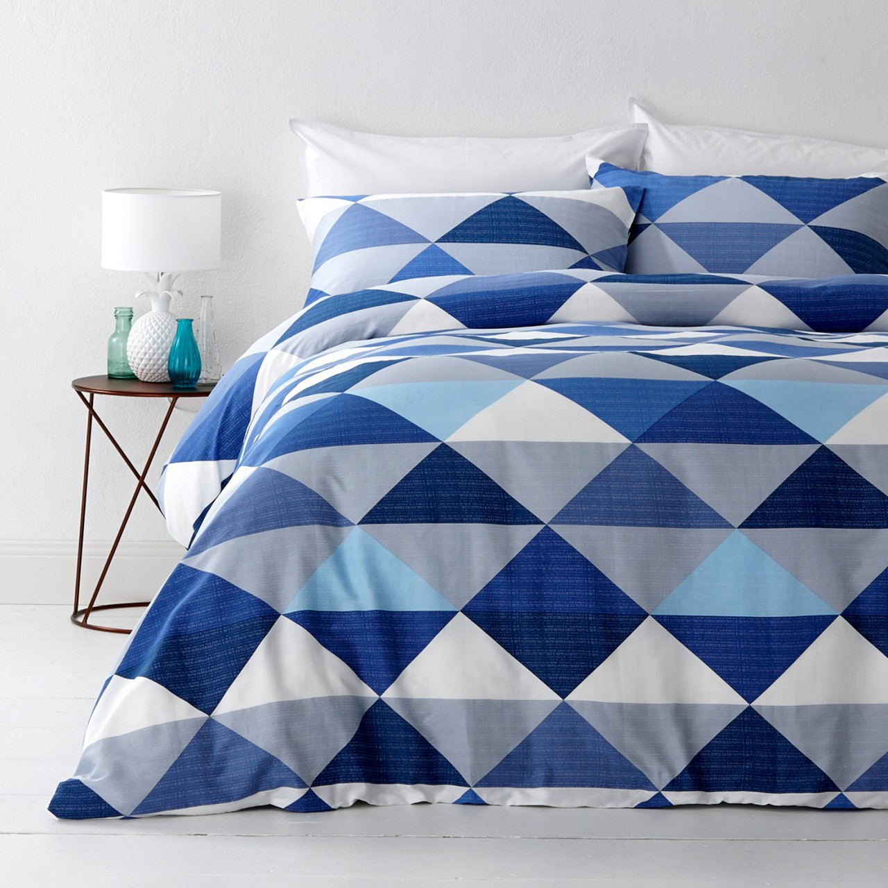 In2Linen Tanika Blue Queen Bed Quilt Cover Set  