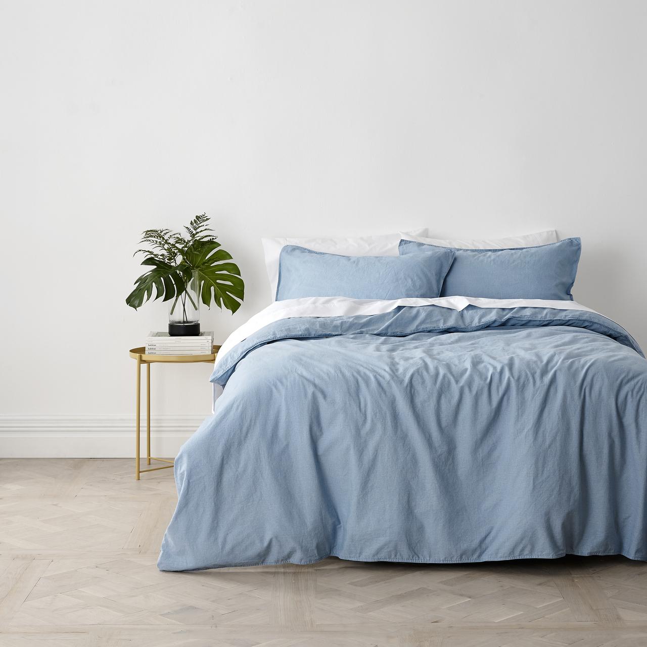 In2Linen Stonewash Quilt Cover - Denim blue