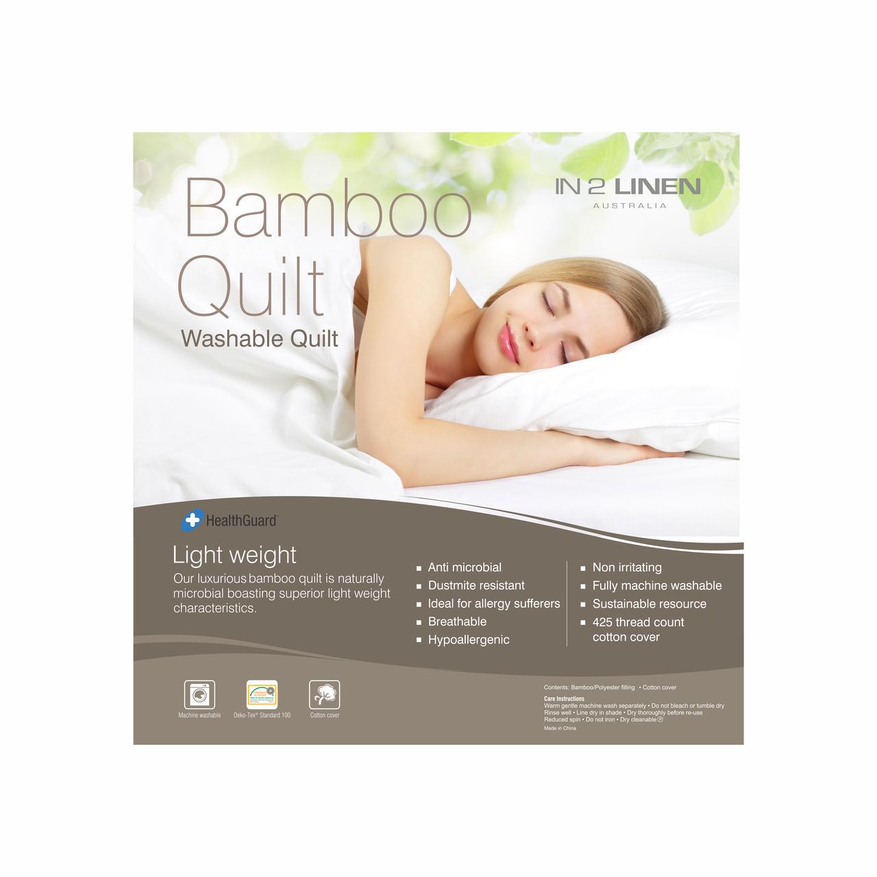 In2Linen Bamboo Rich Luxury Quilt 400gsm - Winter Weight