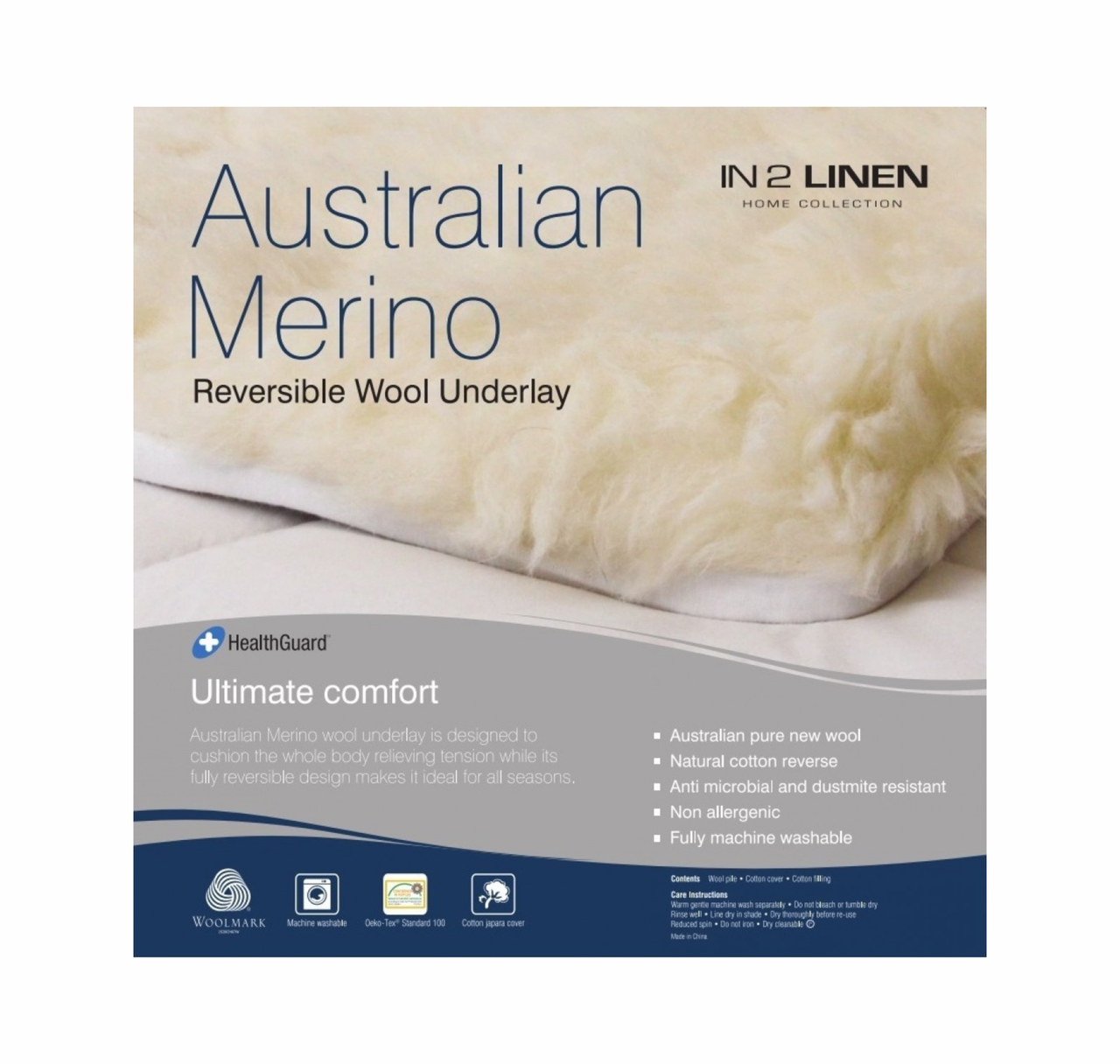 In2Linen  Australian Merino Wool Reversible Underlay - Summer / Winter FROM