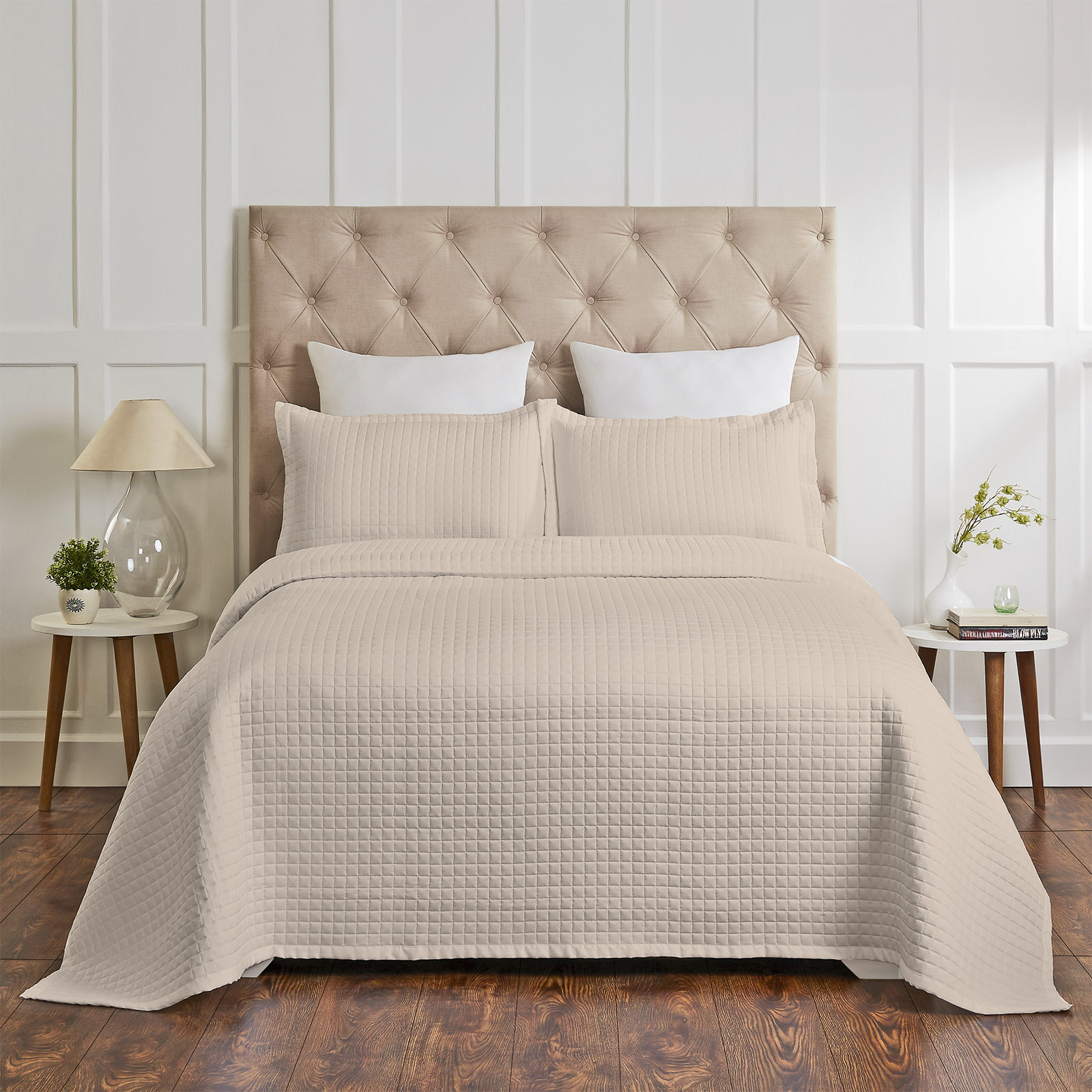 Cotton Quilted Coverlet Set - 400 Thread Count Beige | Free Shipping