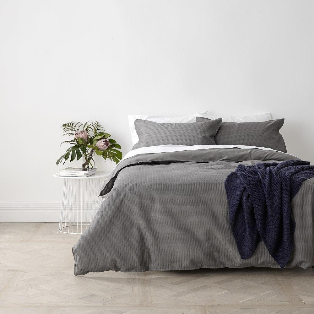 In2Linen Waffle Weave Pure Cotton European pillow Case I Steel